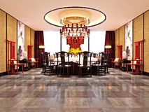3d render of luxury dining room. 3d render of luxury hotel lobby and dining room Stock Photography