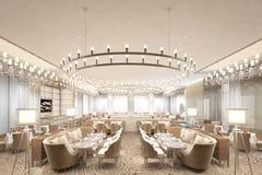3d render of hotel restaurant dinner room. 3d render of luxury hotel restaurant dinner room Royalty Free Stock Photo