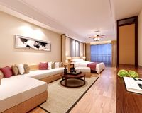 3d render of luxury hotel room Royalty Free Stock Photo