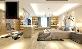 3d render of luxury hotel room Stock Image