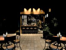 3d render of luxury restaurant outdoor. View and tables Stock Photo