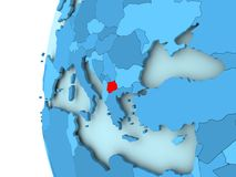 Map of Macedonia. 3D render of Macedonia in red on blue political globe. 3D illustration Stock Images