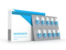 3d render of magnesium pills on blister over white Royalty Free Stock Images