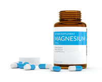 3d render of magnesium pills in bottle over white Royalty Free Stock Photos