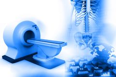 3d render of Magnetic Resonance Imaging scanner. MRI, CT  scanners with human skeleton Stock Photo