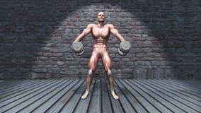3D male figure in dumbbell shoulder shrugs raised pose in grunge royalty free illustration