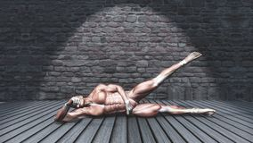 3D male figure in side abduction pose in grunge interior stock illustration