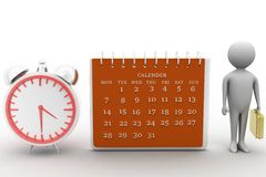 3d render of man  with calender and clock in his hand Royalty Free Stock Photo