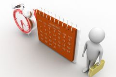 3d render of man  with calender and clock in his hand Stock Images