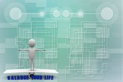 3d render of man on scale with text balance your life Illustration Stock Photo