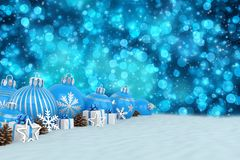 3d render - blue christmas baubles over bokeh background. 3d render of many blue christmas baubles and christmas decorations over blue bokeh background - merry Royalty Free Stock Image
