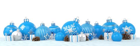3d render - blue and silver christmas baubles over white backgro Stock Photography