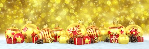 3d render - golden and red christmas baubles over bokeh backgrou Stock Images