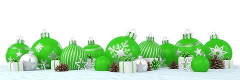 3d render - green and silver christmas baubles over white backgr Stock Photography