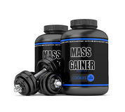 3d render of mass gainer bottles with dumbbells Stock Photos