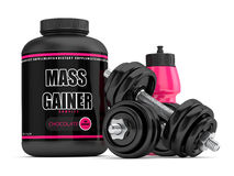 3d render of mass gainer with dumbbells. Isolated over white background stock illustration