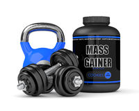 3d render of mass gainer with dumbbells and kettlebell. Isolated over white background stock illustration