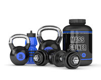 3d render of mass gainer with dumbbells and kettlebells. Isolated over white background stock illustration