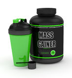 3d render of mass gainer powder with shaker and spoon Stock Photos