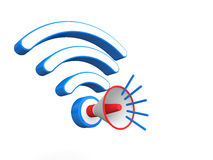 3d render of megaphone and wireless signals Royalty Free Stock Photo