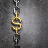 Chain link dollar. 3D render of metal chain with gold dollar symbol link Royalty Free Stock Image