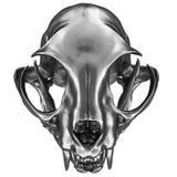 3D render of metallic Cat Skull. Isolated on white royalty free illustration