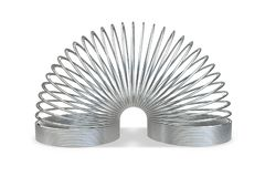 3D render of metallic toy spiral spring. Isolated on white background stock illustration