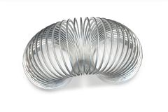 3D render of metallic toy spiral spring. Isolated on white background vector illustration