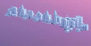 3d render of a mini city, typography 3d of the name bangalore Royalty Free Stock Photography