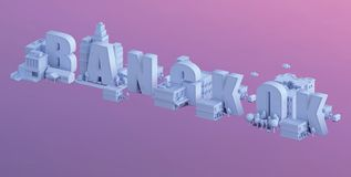 3d render of a mini city, typography 3d of the name bangkok Royalty Free Stock Photos