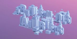 3d render of a mini city, typography 3d of the name buenos aires Stock Photo