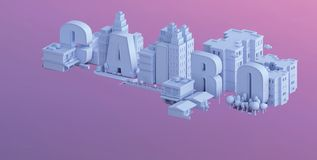 3d render of a mini city, typography 3d of the name cairo Stock Photography