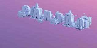 3d render of a mini city, typography 3d of the name cantao Stock Photos