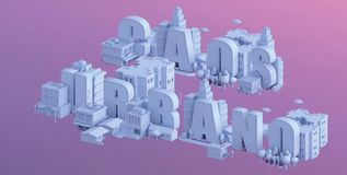 3d render of a mini city, typography 3d of the name caos urbano Royalty Free Stock Photo