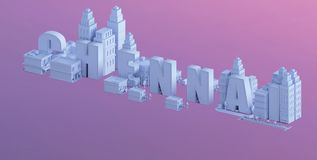 3d render of a mini city, typography 3d of the name Chennai Stock Photography