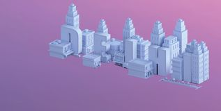 3d render of a mini city, typography 3d of the name delhi Stock Photography