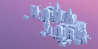 3d render of a mini city, typography 3d of the name nova york Royalty Free Stock Photography