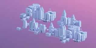 3d render of a mini city, typography 3d of the name rio de janeiro Stock Image