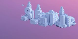 3d render of a mini city, typography 3d of the name seul Stock Images