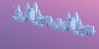 3d render of a mini city, typography 3d of the name shenzhem Royalty Free Stock Photos