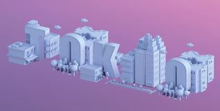 3d render of a mini city, typography 3d of the name tokio. 3d render, typography 3d of the name of tokio, in a mini city Royalty Free Stock Image