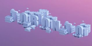3d render of a mini city, typography 3d of the name toronto Stock Photos