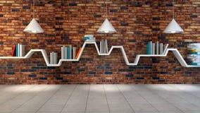 3d render of minimalist shelf. Over dramatic concrete background, modern art minimalist gallery concept Stock Photos