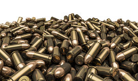 Bullets pile. 3D render of 9 mm bullets Royalty Free Stock Image