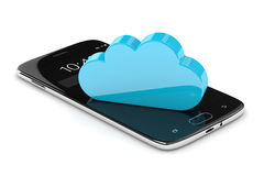 3d render of mobile phone with cloud over white Royalty Free Stock Images