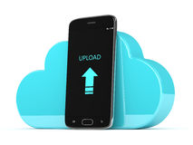 3d render of mobile phone with cloud over white Stock Photo
