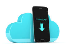 3d render of mobile phone with cloud over white Stock Images