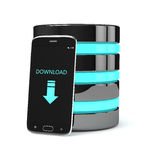 3d render of mobile phone with server over white Royalty Free Stock Images