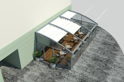 3D render: model of the small pavilion royalty free illustration