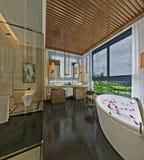 3D Render of bathroom. 3D Render of modern bathroom with bathtub Royalty Free Stock Images
